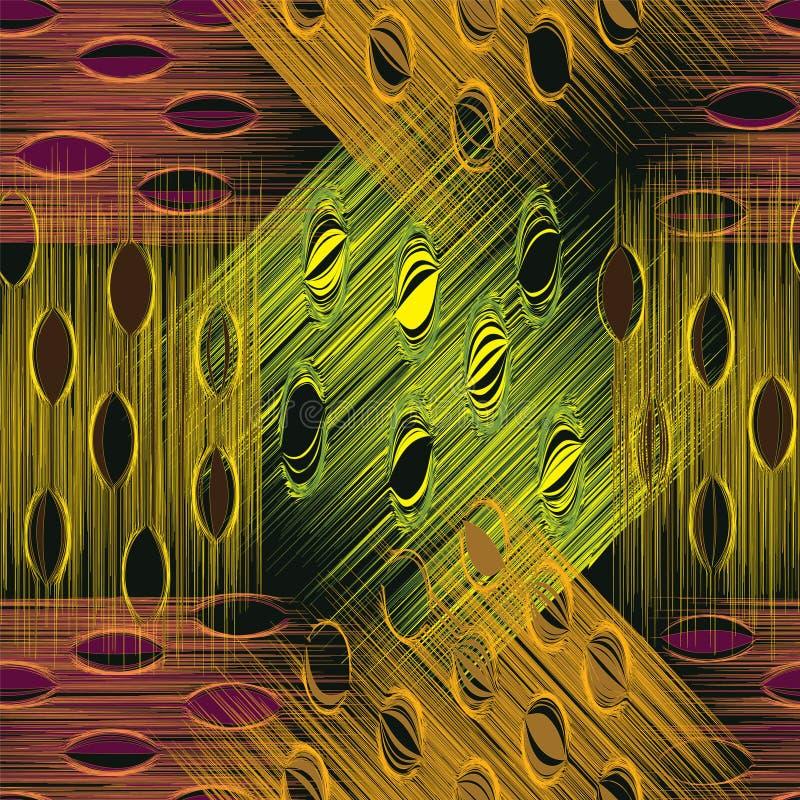 Grunge paskujący i plamiący w kratkę bezszwowy wzór w zieleni, kolor żółty, brąz, fiołek barwi royalty ilustracja