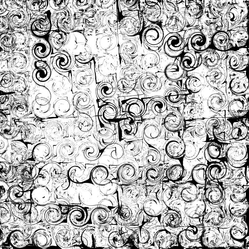 Grunge paskujący, wirujący i plamiący czarny i biały abstrakcjonistyczny tło, royalty ilustracja