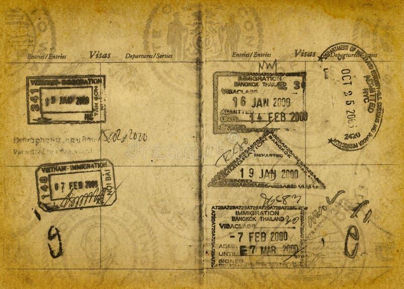 grunge paszport stempluje rocznika obraz stock