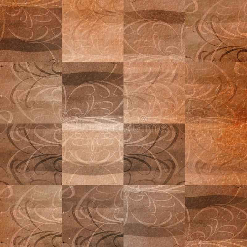 Grunge Patchwork Retro Tile. Decorative patchwork chess board like abstract tile. Sepia color nuances royalty free illustration