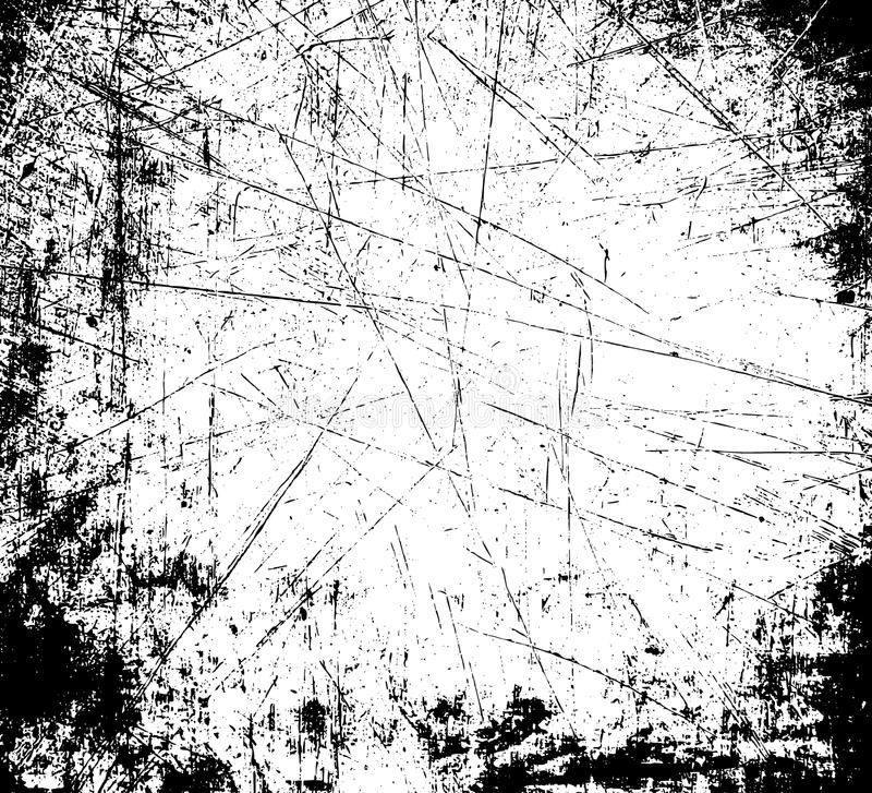 Grunge pattern. Scratched frame - black white background. Grunge pattern graphic rustic texture. Scratched stylish graphics effect royalty free illustration