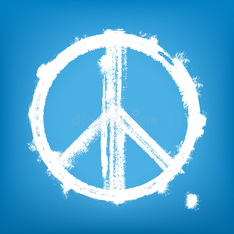 Grunge peace sign. Highly detailed vector illustration of painted peace sign stock illustration
