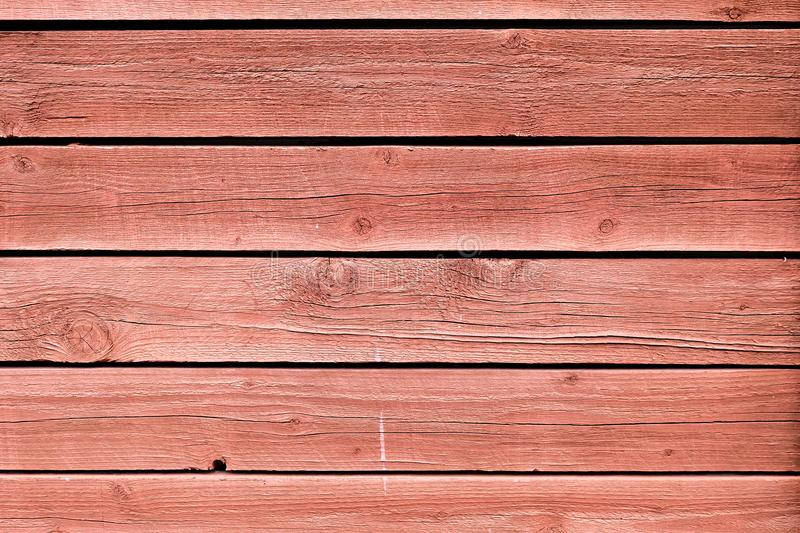 Grunge peeling red Painted Oak Boards background stock images