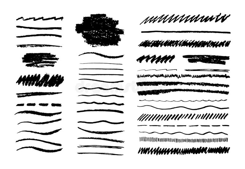 Grunge pencil line. Scribble chalk brush, black doodle graphite art texture, hand drawn sketch elements. Vector grungy vector illustration