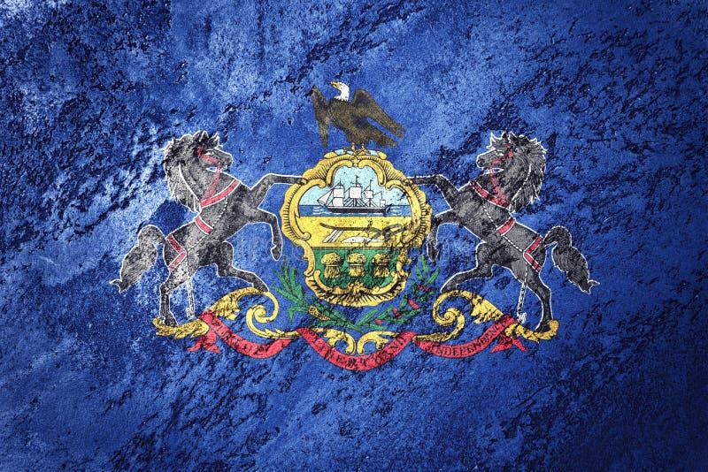Grunge Pennsylvania state flag. Pennsylvania flag background grunge texture. State Flag royalty free stock images