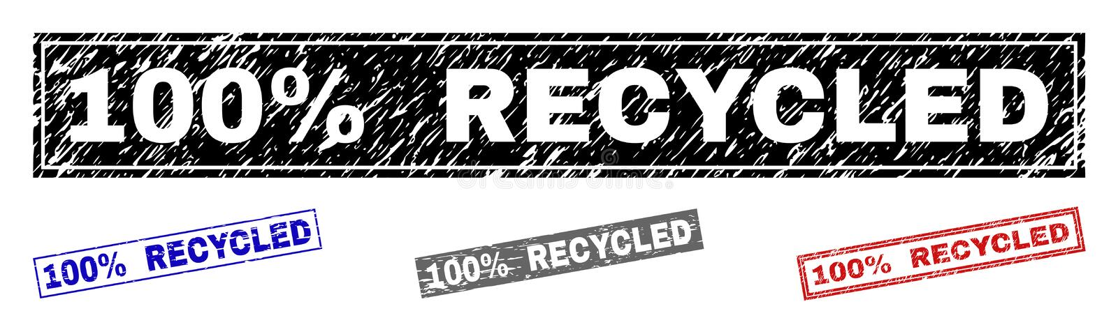 Grunge 100 percent RECYCLED Textured Rectangle Stamps stock illustration