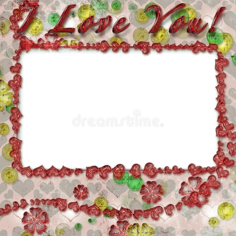 Grunge photo frame with hearts. For web or desktop stock photos