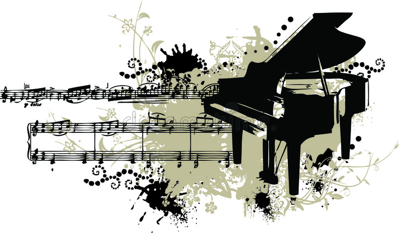Grunge Piano with Stains and Note Staff vector illustration
