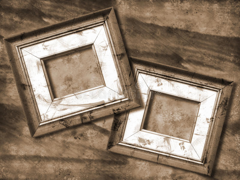 Grunge picture frame. Grunge background and picture frame monochromatic stock photos