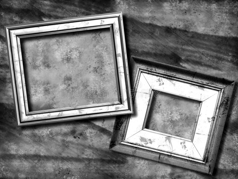 Grunge picture frame. Grunge background and picture frame black and white royalty free stock photos
