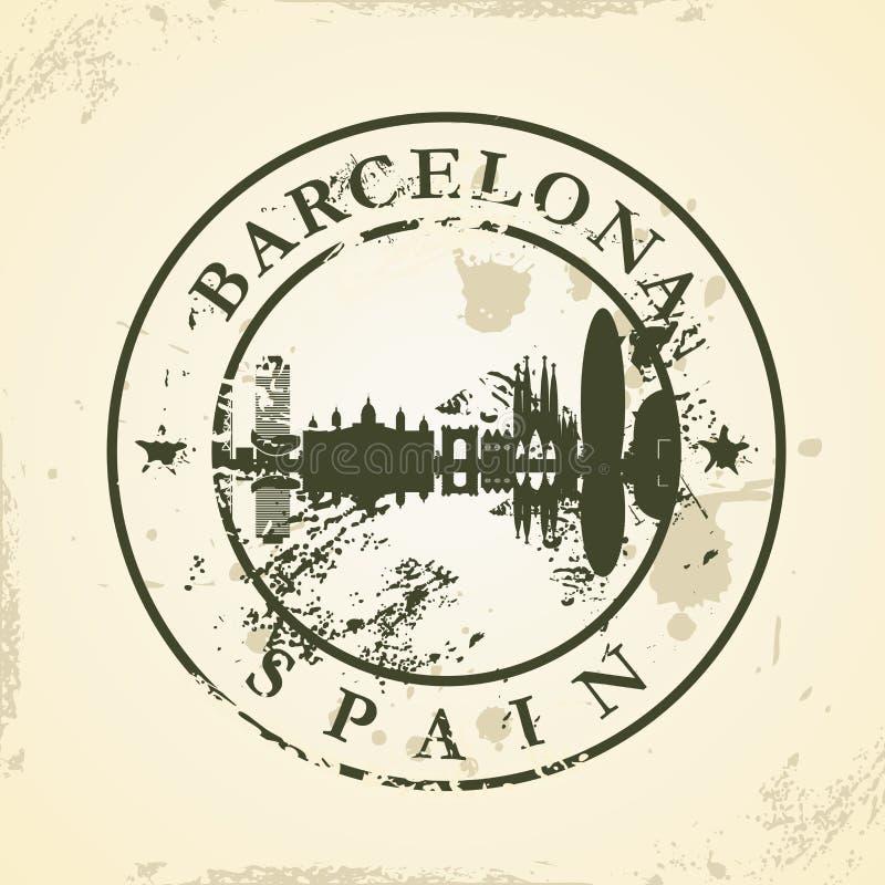 Grunge pieczątka z Barcelona, Hiszpania royalty ilustracja
