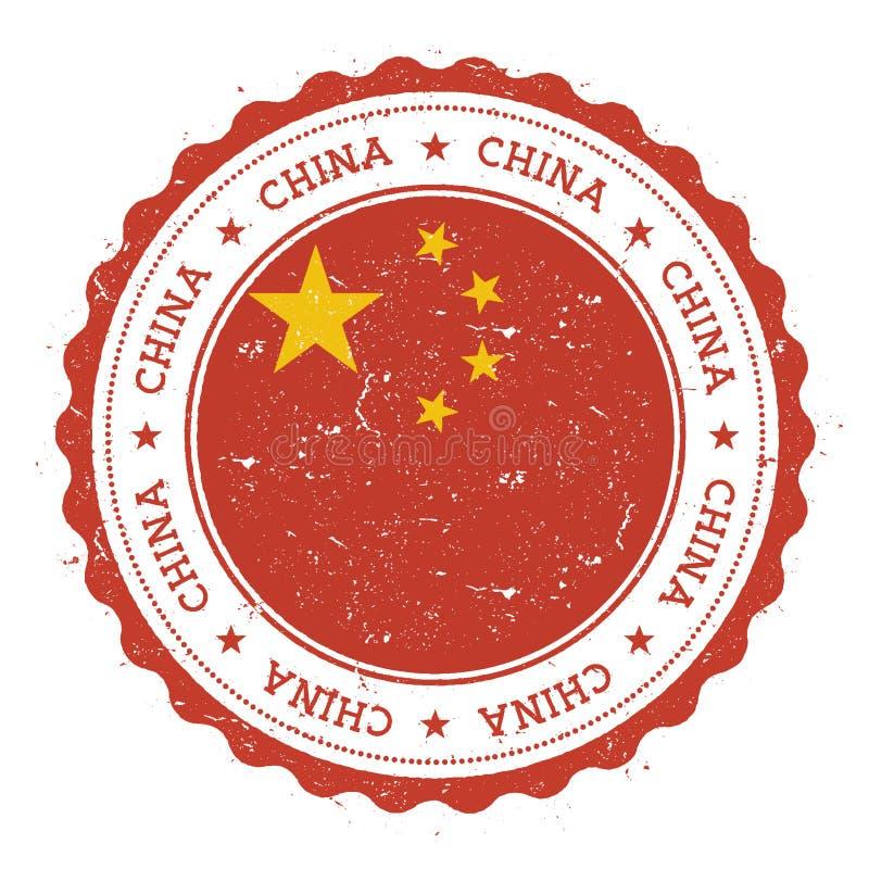 Grunge pieczątka z Chiny flaga royalty ilustracja