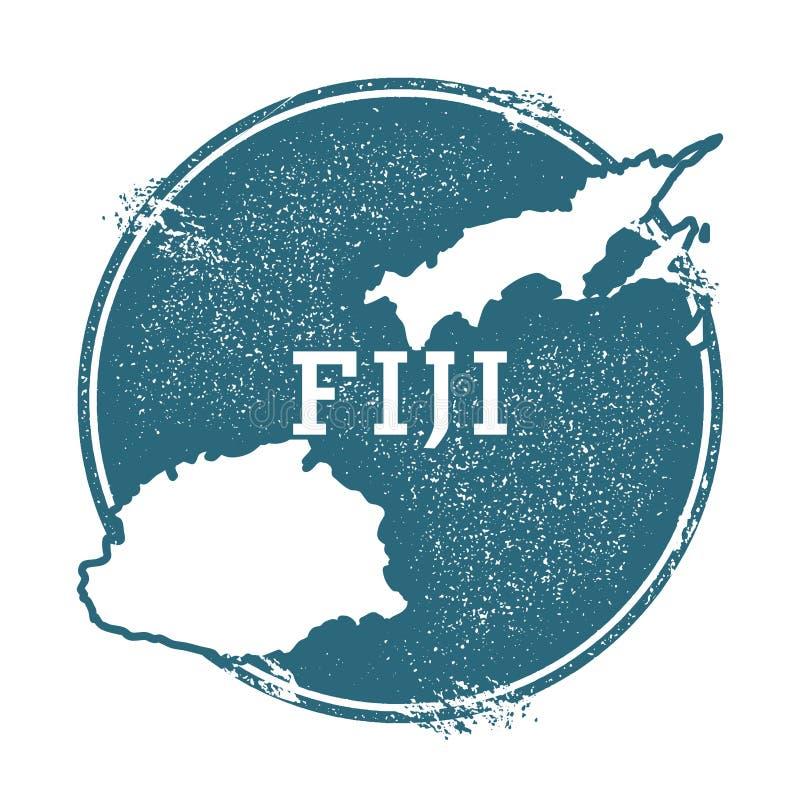 Grunge pieczątka z imieniem i mapą Fiji royalty ilustracja