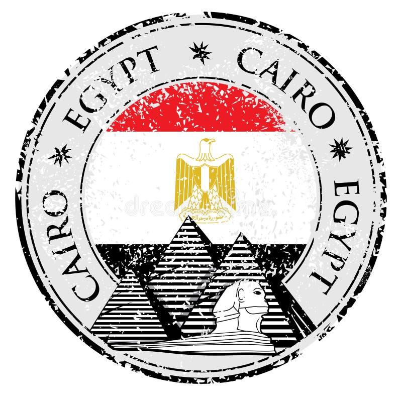 Grunge pieczątka z ostrosłupem Kair i słowem, Egipt inside, ilustracja wektor