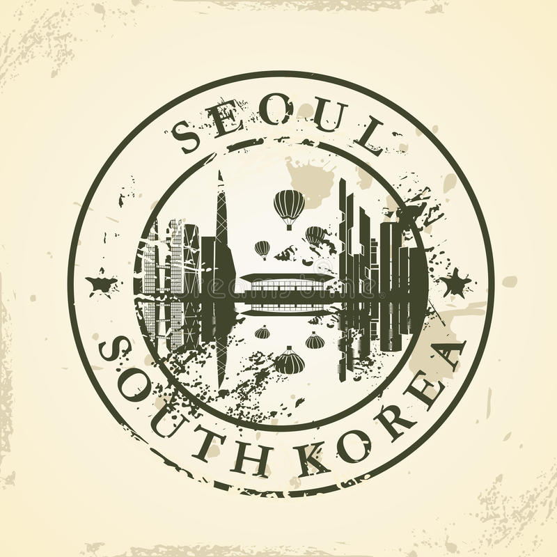Grunge pieczątka z Seul, Południowy Korea ilustracji