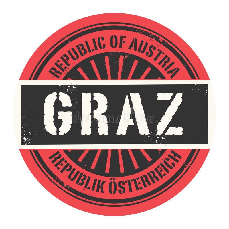 Grunge pieczątka z tekst republiką Austria, Graz ilustracji