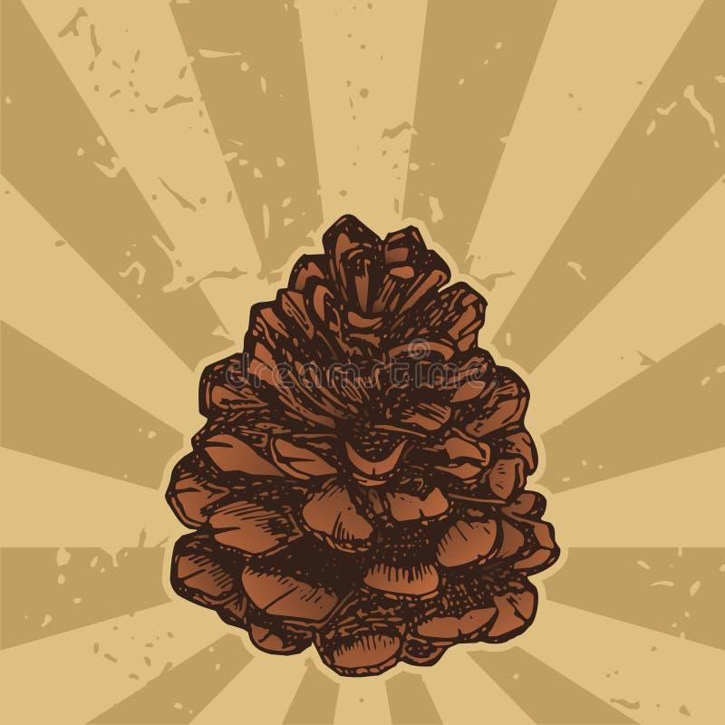 grunge pinecone royalty ilustracja