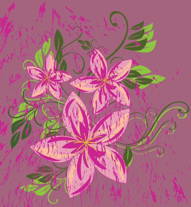 Grunge pink flower. The vector illustration contains the image of grunge pink flower stock illustration