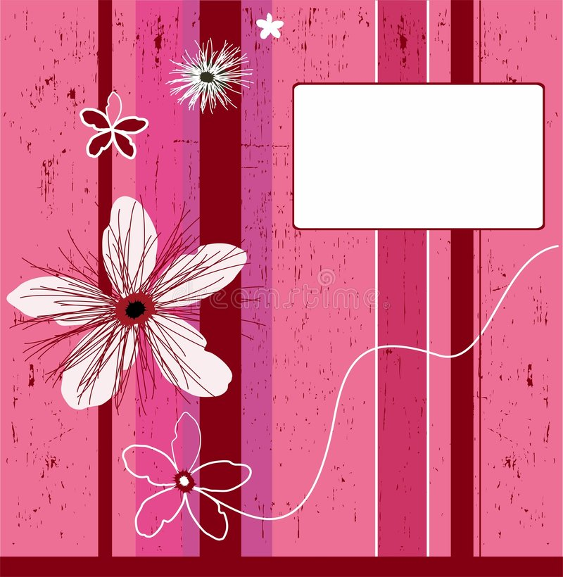 Grunge pink flower background vector illustration