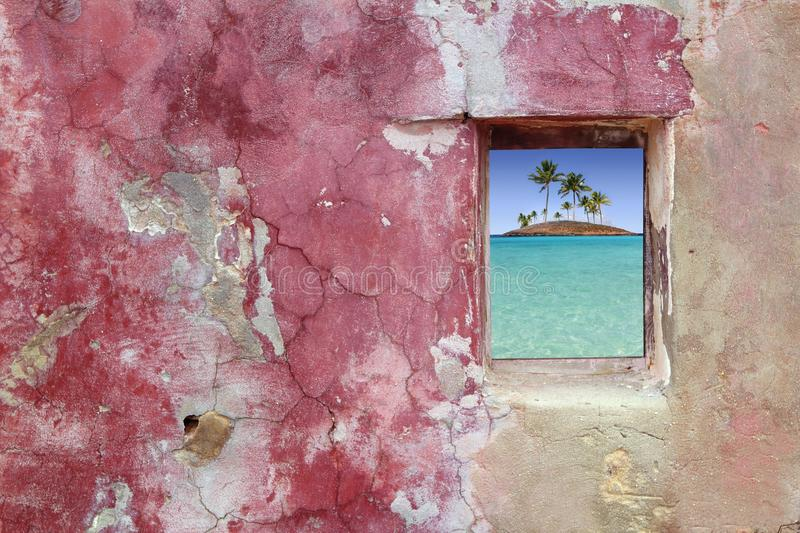 Download Grunge Pink Red Wall Window Palm Trees Island Royalty Free Stock Images - Image: 15160009