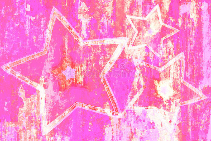 Grunge Pink Stars. Hot pink with sketchy white grunge background with stars design stock illustration