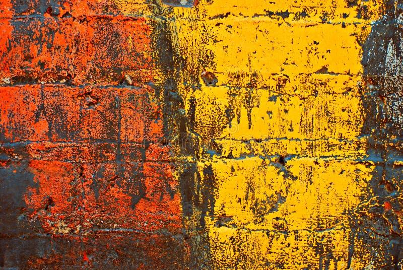 Grunge pintou a parede de tijolo ilustração stock