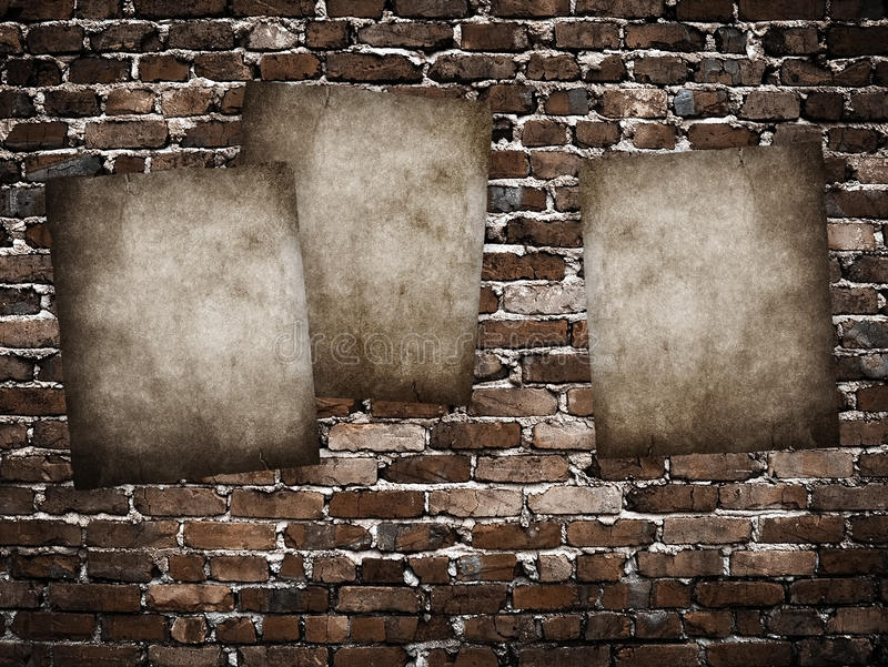 Grunge Plakate auf Backsteinmauer stock abbildung