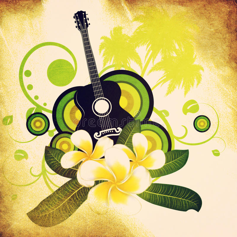 Free Grunge Plumeria Flowers And Guitar Stock Images - 30498674
