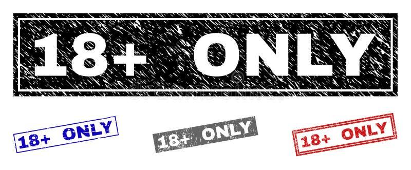 Grunge 18 plus SLECHTS de Gekraste Verbindingen van de Rechthoekzegel royalty-vrije illustratie