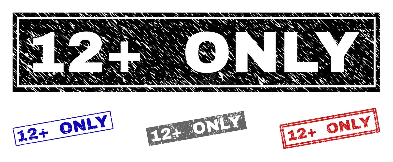 Grunge 12 plus SLECHTS Geweven Rechthoekzegels royalty-vrije illustratie
