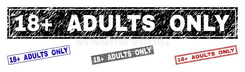 Grunge 18 plus VUXNA MÄNNISKOR texturerade ENDAST rektangelstämplar stock illustrationer