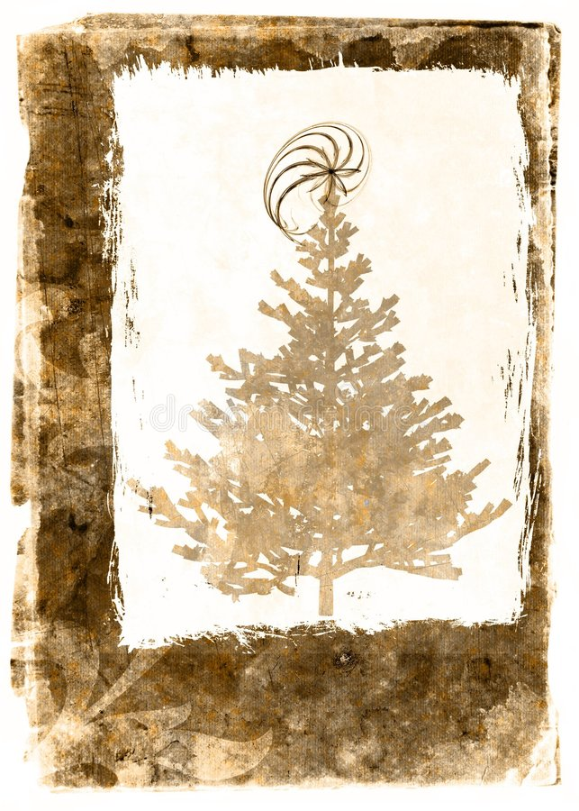 grunge pocztówkowi drzew sepiowi xmass ilustracja wektor
