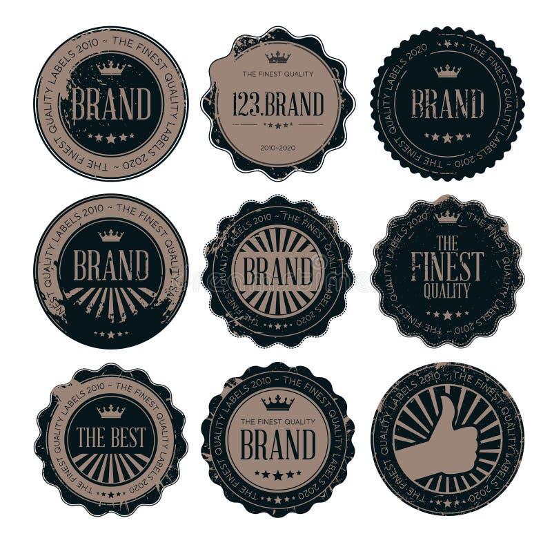 Grunge poczta znaczka retro odznaki i etykietki royalty ilustracja