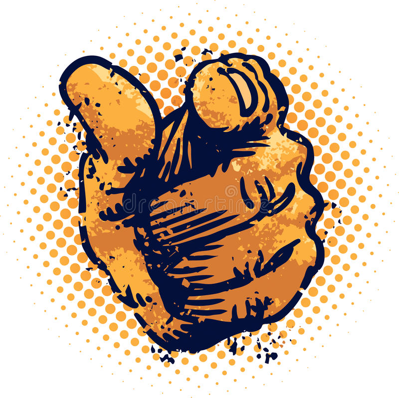 Grunge Pointing finger. An illustration of a hand and pointing finger stock illustration