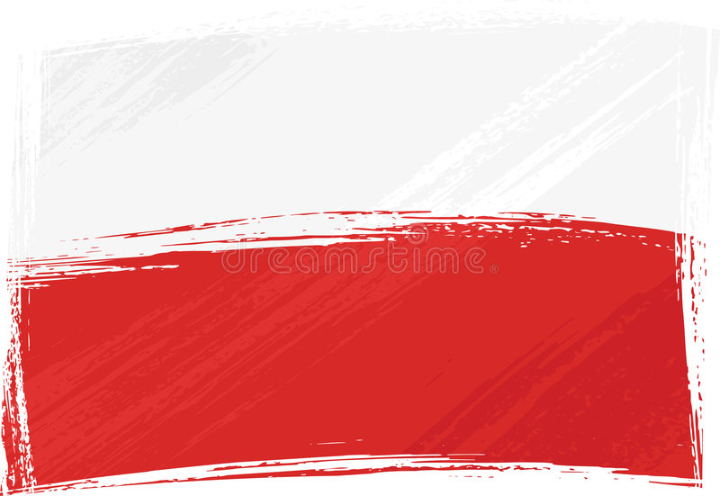 Grunge Poland flag. Poland national flag created in grunge style stock illustration