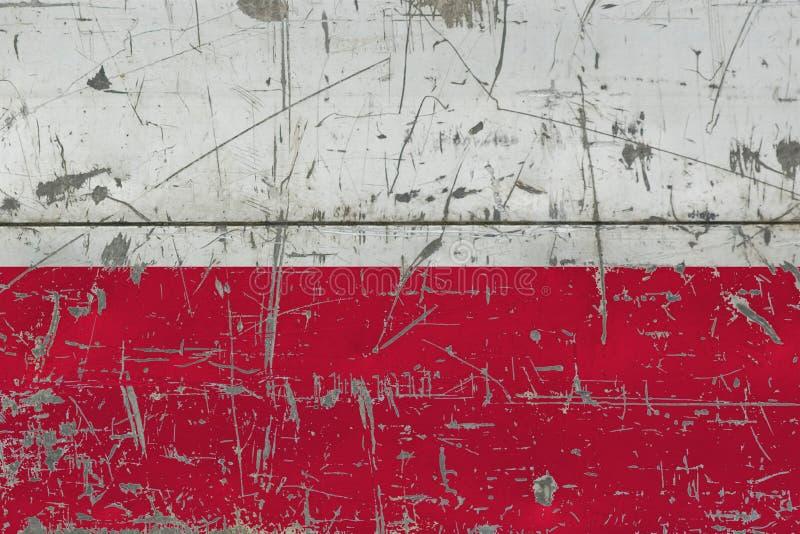 Grunge Polska flaga na starej porysowanej drewnianej powierzchni Krajowy rocznika tło fotografia stock