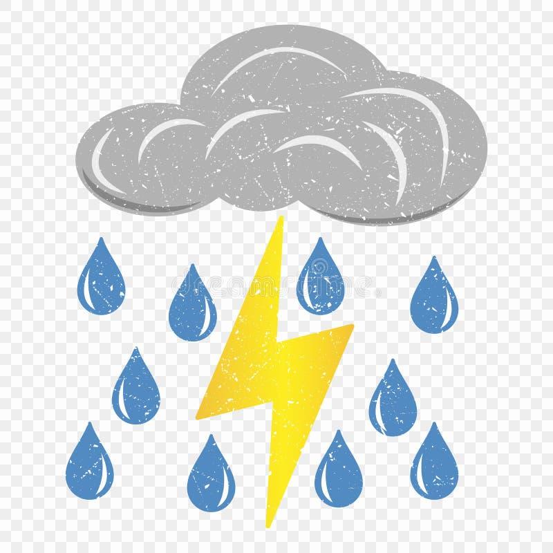Grunge popielata chmura z błyskawicy i deszczu ikoną Kreskówki ilustracja chmury z błyskawicy i deszczu wektorową ikoną dla sieci ilustracji