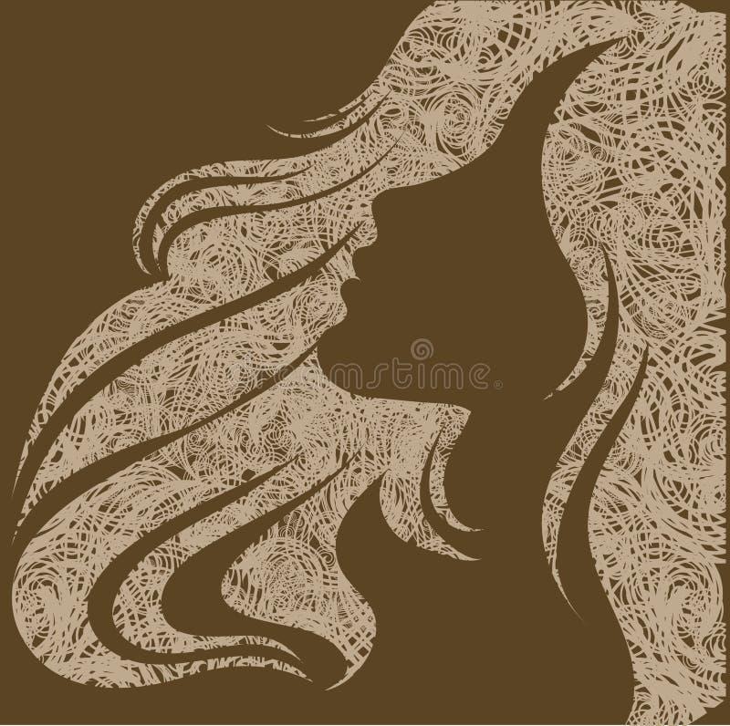 Grunge Portrait eines Mädchens mit dem schönen Haar vektor abbildung