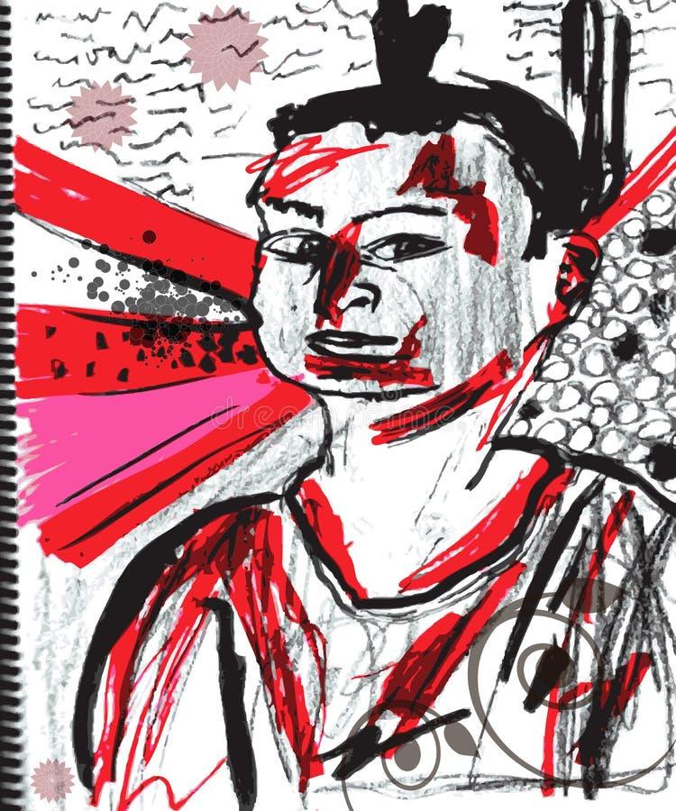 grunge portreta wektor ilustracji