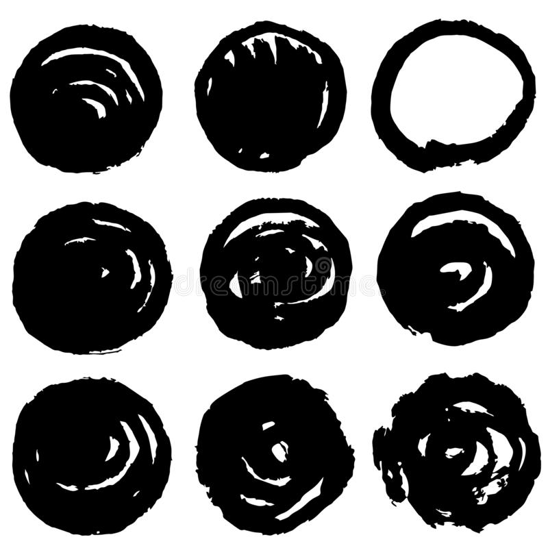 Grunge post stamp set, circles. Round banners, boxes, frames, labels or badges, backgrounds. royalty free illustration