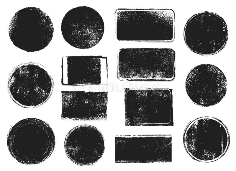 Grunge post stamps. Round and rectangular badges with distressed texture. Scratched blank rubber seal stamp vector royalty free illustration