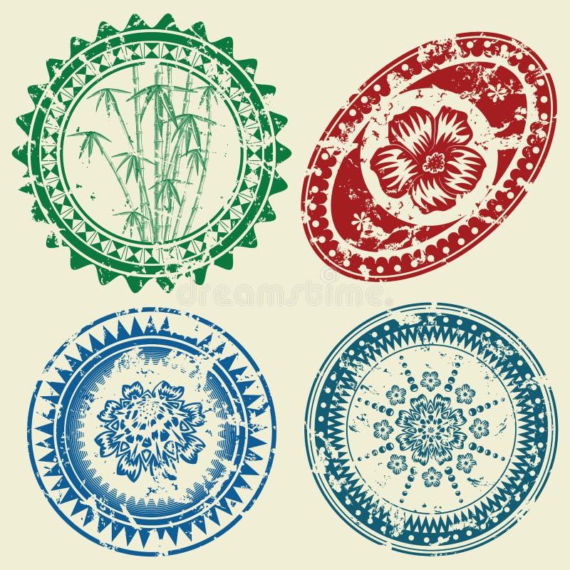 Download Grunge postcard stamp set stock vector. Image of flora - 17328741