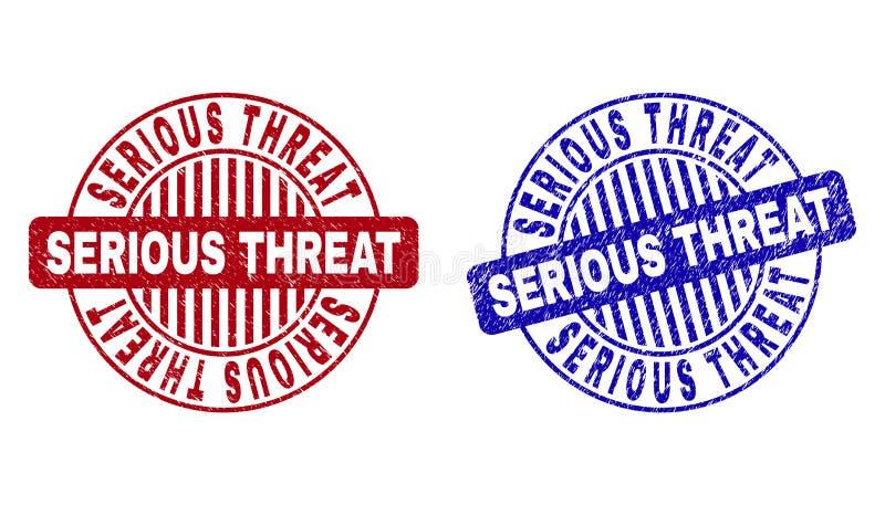 Grunge poważnej groźby Round Textured Watermarks ilustracji