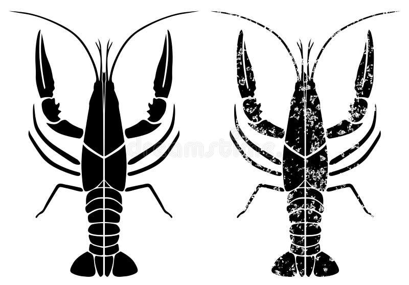 Grunge preto das lagostas ilustração stock