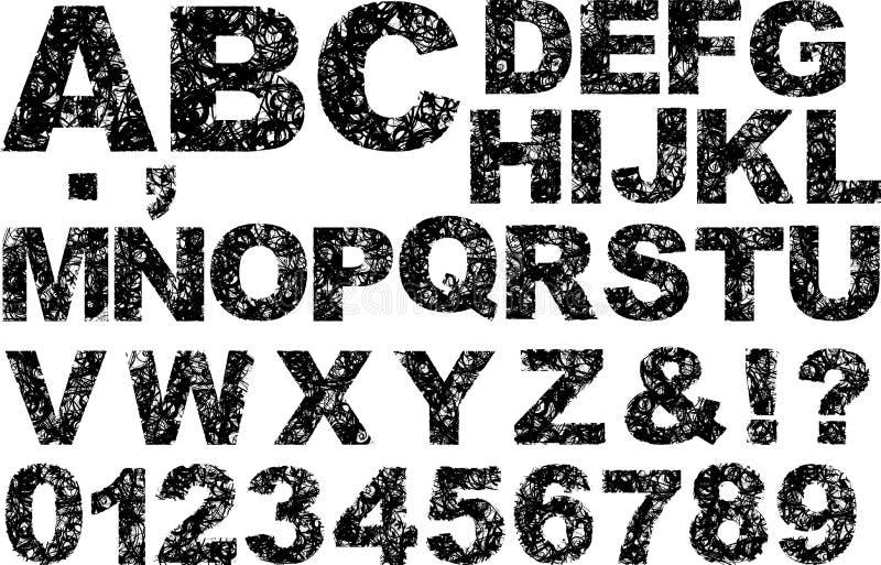 Grunge preto e branco curva o alfabeto ilustração royalty free