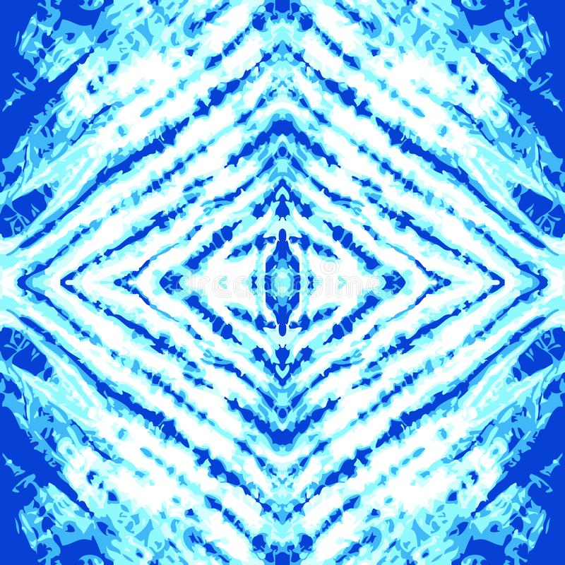 Stripped indigo background. Tie dye textile pattern with blue and white palette. royalty free illustration