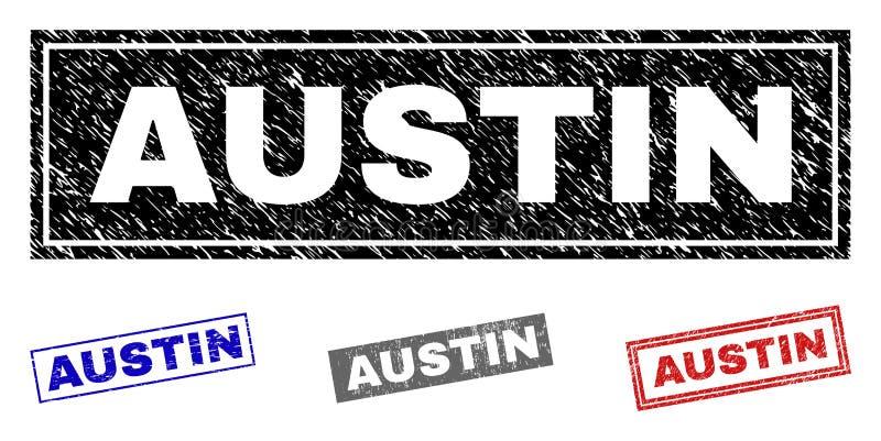 Grunge prostokąta znaczka AUSTIN Drapać foki ilustracji