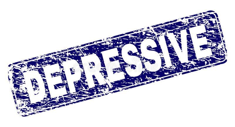 Grunge prostokąta DEPRESSIVE Obramiający Zaokrąglony znaczek ilustracja wektor