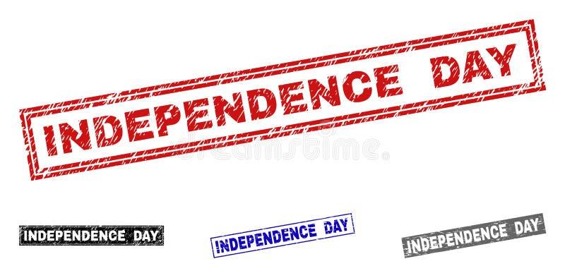 Grunge prostokąta dni niepodległości Drapający znaczki ilustracji