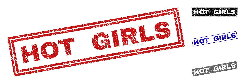 Grunge prostokąta GORĄCE dziewczyny Textured znaczki ilustracja wektor